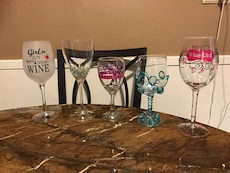 Assorted wine glasses. Makes for a great gift. $2.00 each