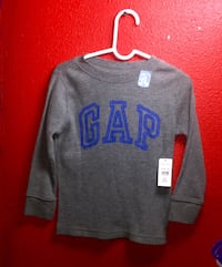 gray and blue Gap boat-neck sweater