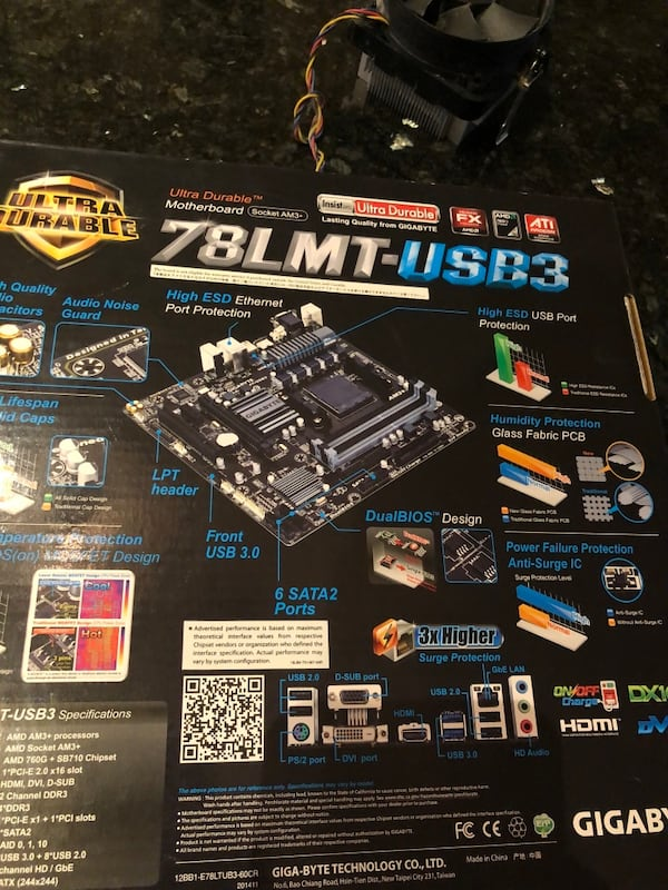 Gigabyte 78LMT-USB3 motherboard with quad core AMD Processor and fan dad3cc83-4554-4578-ad1a-74c8d981d156
