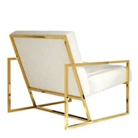 White Velvet And Gold Modern Gold Finger Chair