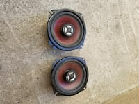 black-and-brown coaxial speakers