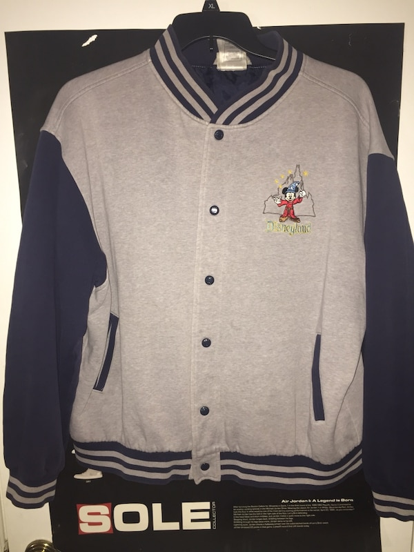 gray and black Disneyland letterman jacket