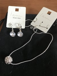 Crystal Dangling Earrings And Silver Necklace Set Methuen, 01844