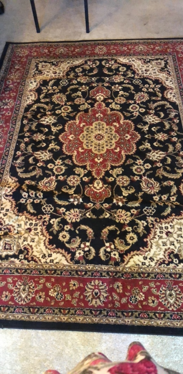 Used Black Brown And Red Floral Area Rug For Sale In San Jose Letgo
