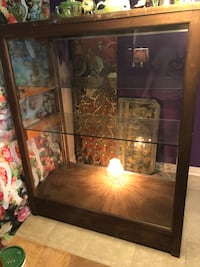 Wood Display Case with Glass Shelves VERY NICE