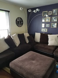 Brown and cream 7 peice suede sectional sofa with  North Laurel
