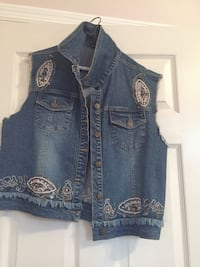 Blue denim button-up vest. Size L