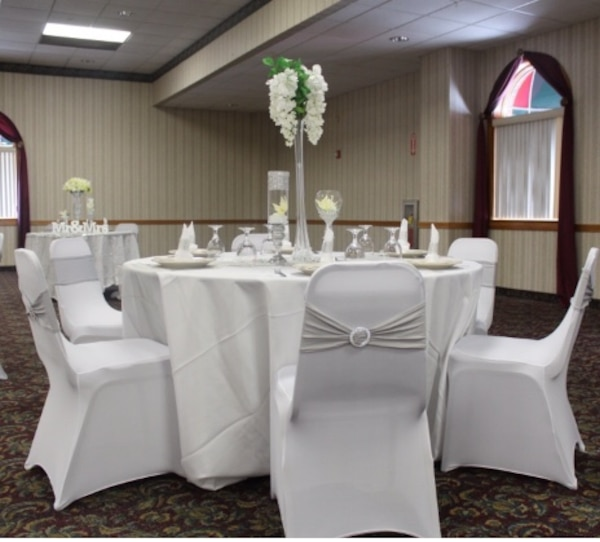 Large Round Table Cloth.Wedding Decor 60 Banquet Chair Covers 10 Large Round Table White Table Clothes 10 Silver Organza Runners 100 Silver Grey Chair Sashes With Buckle