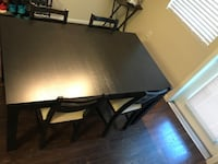 rectangular brown wooden table with six chairs dining set Los Angeles, 91325