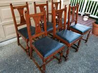 four brown wooden framed gray padded chairs Beaverton, 97005