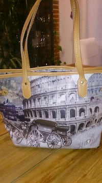 Tote bag in pelle stampa coliseum marrone e grigio