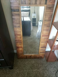 brown wooden framed wall mirror Ellenwood