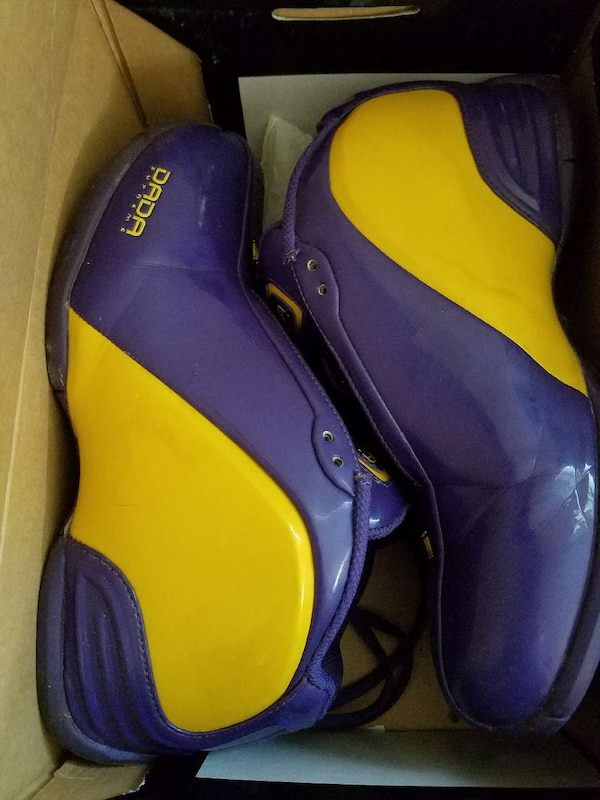bca9fd124a682f Used purple and yellow Dada basketball sneakers in box for sale in ...