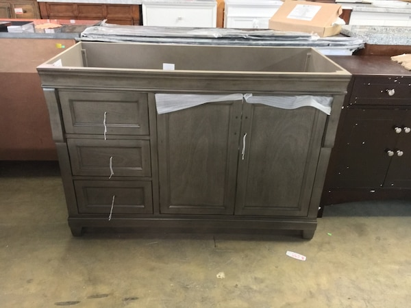 Home Decorators Collection Naples 48 In W Bath Vanity Cabinet Only In Distressed Grey With Left Hand Drawers