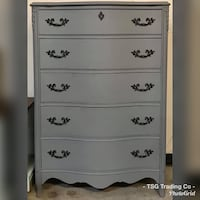 Gray French provincial chest of drawers