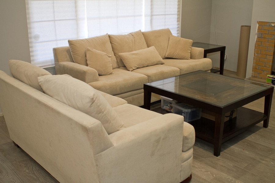 used cream colored sofa set including center and side table for sale rh gb letgo com