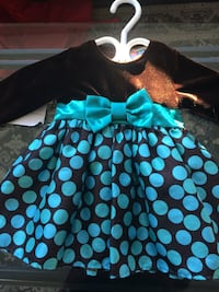 black and teal polka-dot sleeveless dress 3702 km