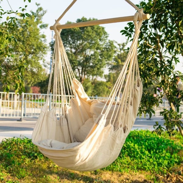 Hanging Rope Chair Hammock Outdoor Porch Swing Seat Camping Patio White