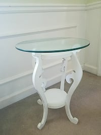 White Round Glass Top Table