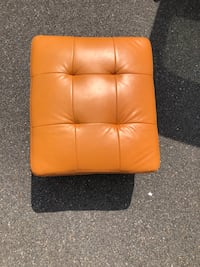 Orange leather padded ottoman chair 8 km