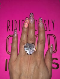 Super chic heart shape touch of light pink crystal ring  Markham, L3T 7N1