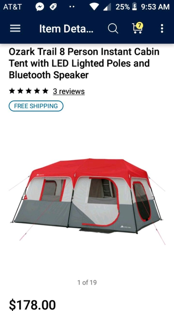 8 person cabin tent with led lights & bt speakers