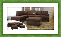 Chocolate Sectional with free ottoman brand new high quality  47 km