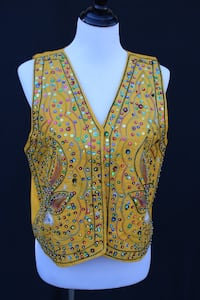 Vintage Eastern Indian Yellow Vest Top w/Lovely Sequin Detail Castaic, 91384