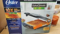 grey Oster ceramic non-stick 4 slice waffle maker box Lancaster, 93536