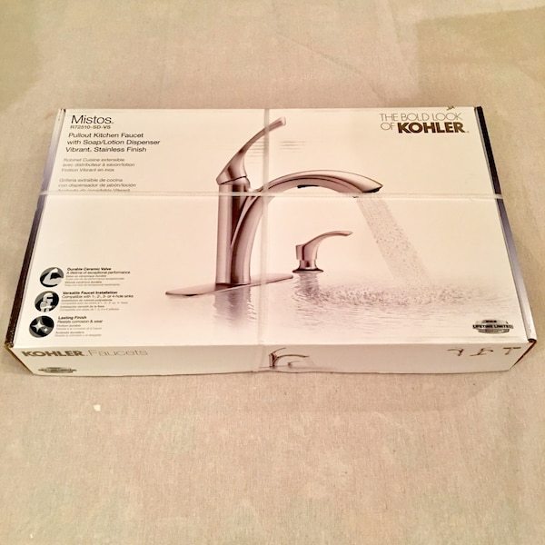 Nib Kohler Faucets Mistos Single Handle Pull Out Sprayer Kitchen Faucet In Stainless Steel Model R72510 Sd Vs