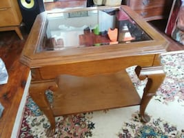 Beautiful wooden table /with glass top