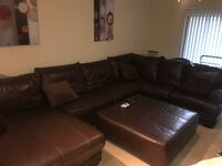 Brown leather sectional sofa with ottoman Herndon, 20170