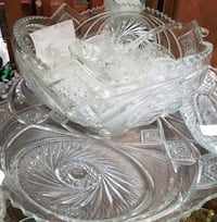 clear cut glass punch bowl set Montgomery Village, 20886