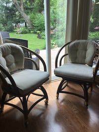 2 Contemporary Wooden Chairs with Cushions
