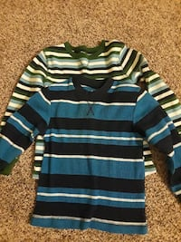 two white and blue stripes sweaters