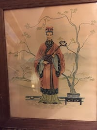 """ESTATE FIND ANTIQUE (?) PRINT LITHO (?) WATERCOLOR (?)  JAPANESE STYLE FRAMED (w/ frame approx 17 x 20"""") Glendale, 91203"""