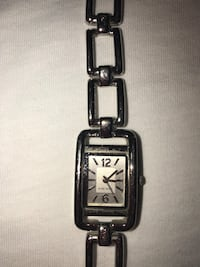 rectangular silver analog watch with link bracelet