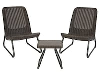 Keter Rio 3 Pc All Weather Outdoor Patio Garden Conversation Chair & Table Set Furniture, Brown Alexandria