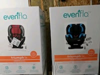 two blue and red Evenflo Triump X car seat boxes Ottawa, K2E 7M6