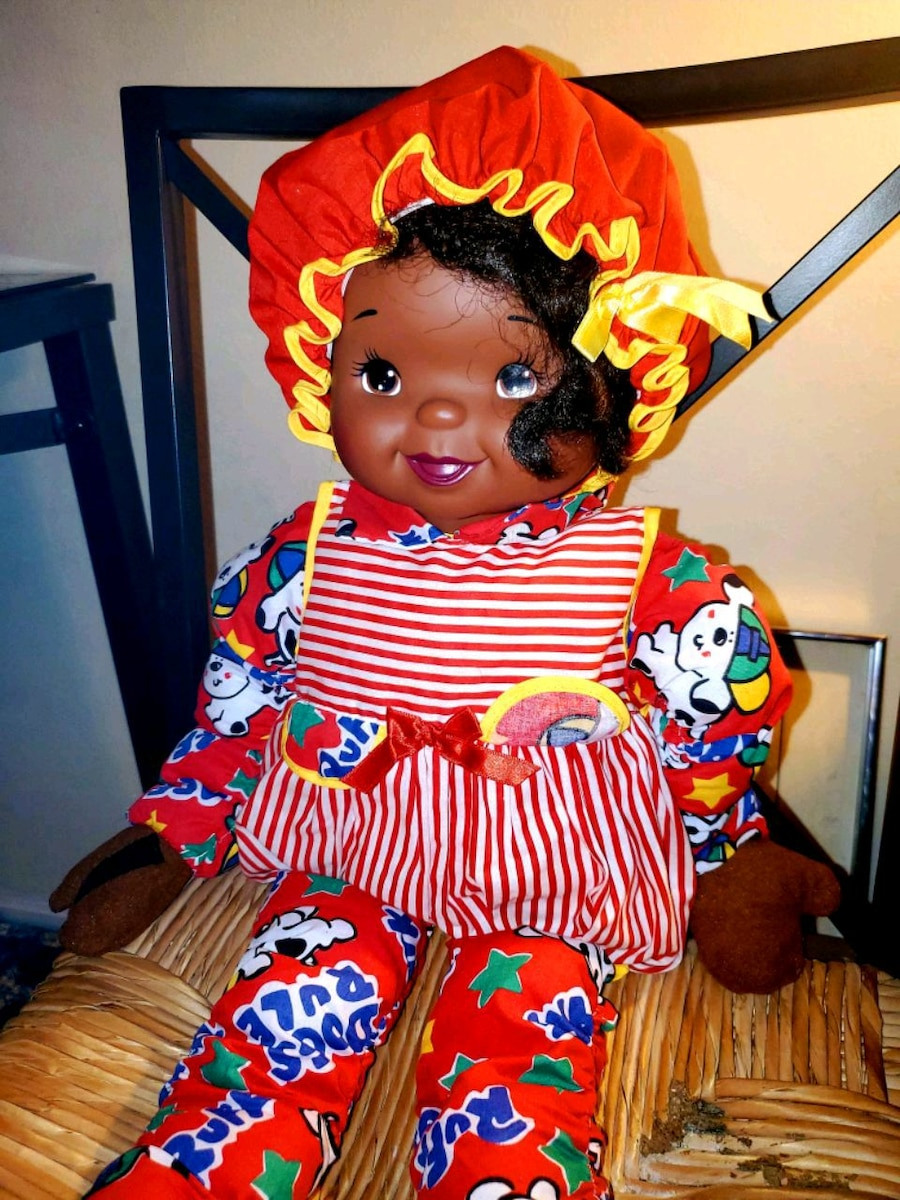 Photo Unique Reversable Face Vintage African American Doll was used for Deco