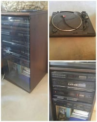 black turn table, and cassette player collage Remington, 22734