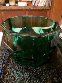 Vintage green glass bowl Zanesville, 43701