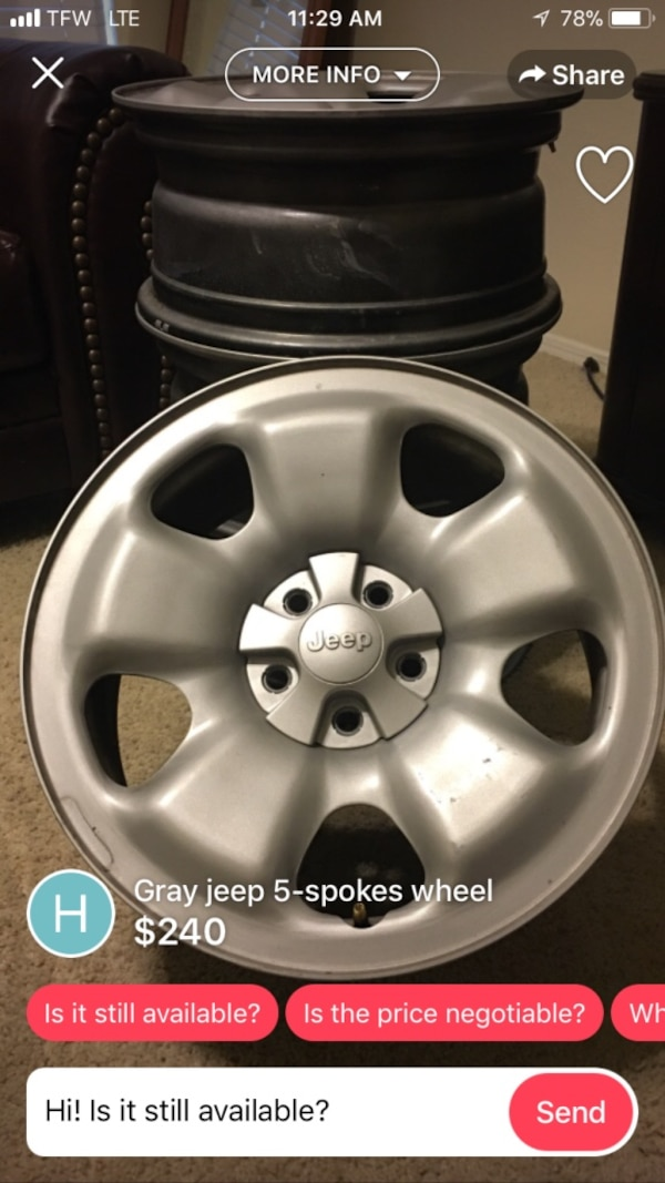 7517faa27d Used Jeep rims selling for a friend $240 for sale in Haltom City - letgo
