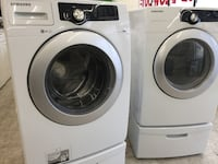 white front-load washer and dryer set 374 mi