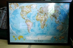 """FRAMED NATIONAL GEOGRAPHIC MAP - 43"""" x 30"""""""
