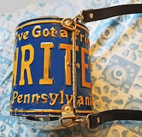 "PA License plate recycled into shoulder bag: ""WRITES"": reduced price"