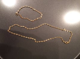 GIFT IDEAS! Gold plated chain link necklace & bracelet