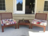 2 Moroccan outdoor chairs, Poufs, and Table Murfreesboro