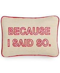 rectangular beige and red because i said so text throw pillow