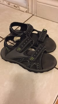 pair of gray-and-green sandals